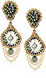 Miguel Ases Small Cascading Chain Dangles Briolette-Shaped Swarovski Post Drop Earrings, Moss Green