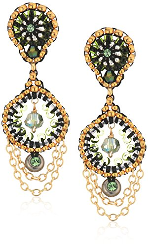 Miguel Ases Small Cascading Chain Dangles Briolette-Shaped Swarovski Post Drop Earrings, Moss Green ()