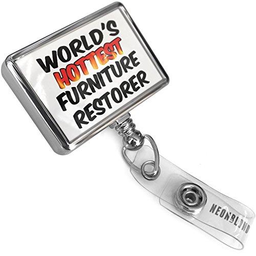 Retractable ID Badge Reel Worlds hottest Furniture Restorer with Bulldog Belt Clip On Holder Neonblond