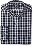 Original Penguin Men's Slim Fit Tonal Plaid Dress Shirt, Navy/Grey, 16.5 34/35
