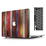 2016 Ver Macbook Pro 15''Retina Case and Keyboard Cover,AICOO Painted Hard Case Cover With Keyboard Protector For Laptop Apple MacBook Pro 15.4 (1707) With Multi-Touch Bar&Touch ID,Wood Grain Colorful