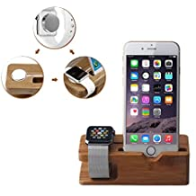 Multi-Device Charging Station Dock & Organizer, Bamboo Charging Docking Station and Organizer for iPhone 4,5,6, plus & 38mm 42mm size iwatch devices Charging station dock organizer