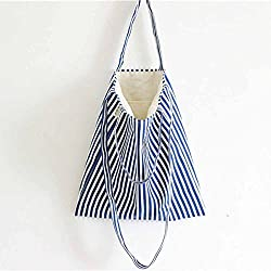 mk. park - Handmade Lady Eco Storage Handbag Canvas Striped Tote Shoulder Bag Shopping Bags (Blue)