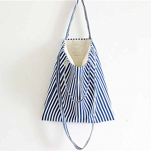 mk. park – Handmade Lady Eco Storage Handbag Canvas Striped Tote Shoulder Bag Shopping Bags (Blue)