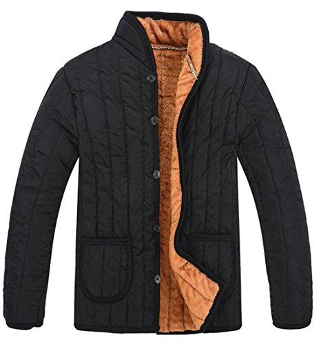 Single Breasted Quilted Jacket - Pivaconis Mens Winter Coat Faux Fur Lined Single Breasted Quilted Jacket Black M