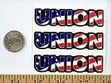 """3 - Union US Flag Hard Hat/Helmet Stickers 1"""" x"""