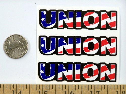 "3 - Union US Flag Hard Hat/Helmet Stickers 1"" x 2"" H156 by StickerPirate (Image #1)"