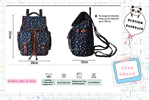 Linshe Rucksack Damen Segeltuch Vintage Blumen Muster Mädchen Schulrucksack Blumendruck Tasche Daypacks für Schule Arbeit Outdoor Sports Reise