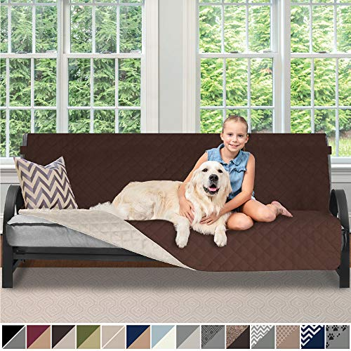 Sofa Shield Original Patent Pending Reversible Futon Slipcover, 2 Inch Strap Hook, Seat Width Up to 70 Inch Washable Furniture Protector, Futons Slip Cover Throw for Pets Kids, Futon, Chocolate Beige