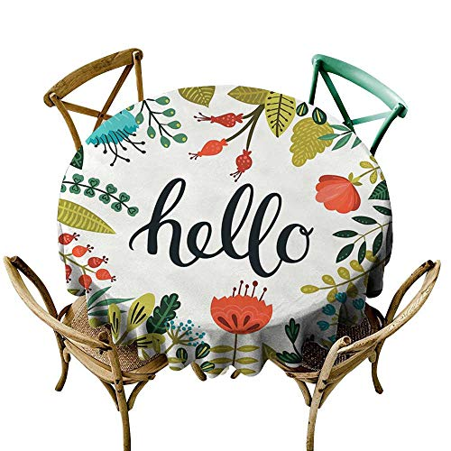 Round Tablecloth Hello,Brush Lettering Designed Calligraphy Print of Hello on Colorful Floral Background,Multicolor D54,for Accent Table