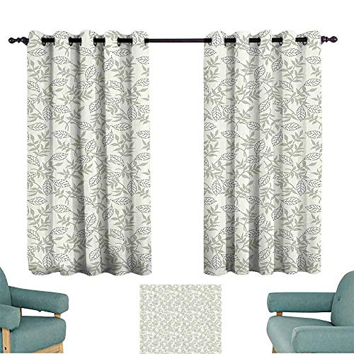 DILITECK Customized Curtains Grey Decor Nature Featured Oak Tree Leaves with Repeating Curve Lines Feminine Home Decor Blackout Draperies for Bedroom Living Room W55 xL39 Light Green