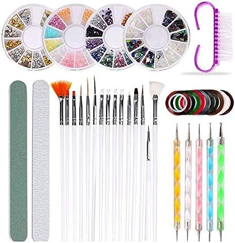 Kit de Herramientas de Manicura de Uñas, Queta 37pcs Juego de Diseño de Arte de Uña, con Herramientas/Pinceles/Pedrería/Pegatinas para el Arte y la Decoración de Uñas