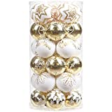Sea Team 60mm/2.36' Delicate Contrast Color Theme Painting & Glittering Christmas Tree Pendants Decorative Hanging Christmas Baubles Balls Ornaments Set - 30 Pieces (Gold & White)