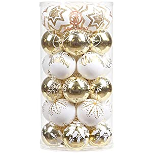 Sea Team 60mm/2.36″ Delicate Contrast Color Theme Painting & Glittering Christmas Tree Pendants Decorative Hanging Christmas Baubles Balls Ornaments Set – 30 Pieces (Gold & White)