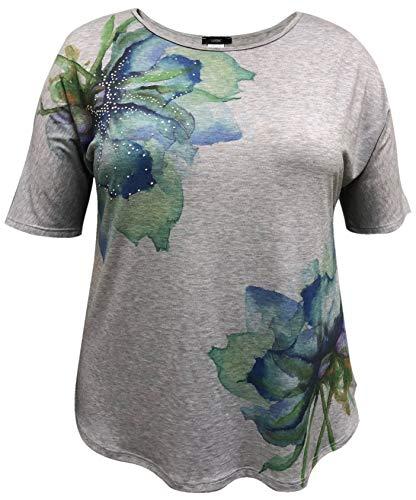 (Plus Size Mid-Length Sleeve Print Top (1X-5X) (3X, Multi Floral))