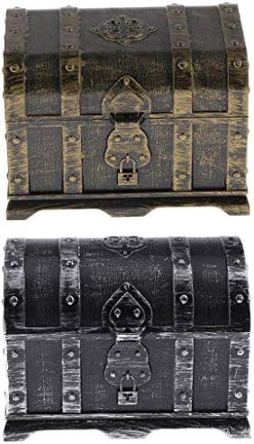 Hellery 海賊の宝箱 アンティーク 宝石箱 ジュエリーボックス 小物入れ インテリア 置物 オブジェ プレゼント
