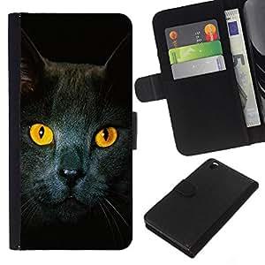 Cat Yellow Eyes Grey British Shorthair - la tarjeta de Crédito Slots PU Funda de cuero Monedero caso cubierta de piel HTC DESIRE 816