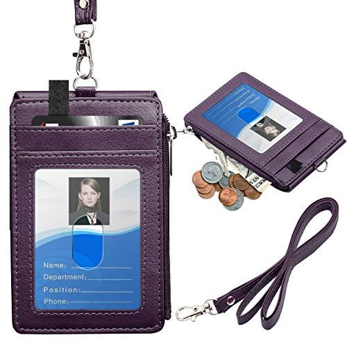 Porta credecial con 5 ranuras de piel sintética violeta