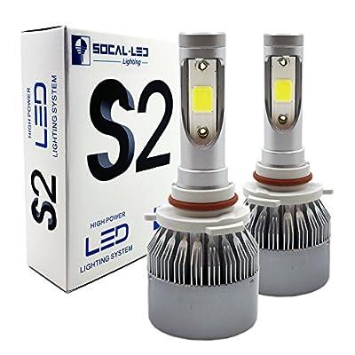SOCAL-LED 2x S2 Automotive LED Headlight Bulbs Conversion Kit Bright 72W COB Chip 6000K Xenon White