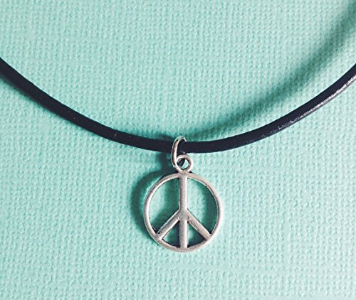 Peace Choker Necklace Pendant – Boho – Handmade Pendant – Leather Chain – Silver Pendant