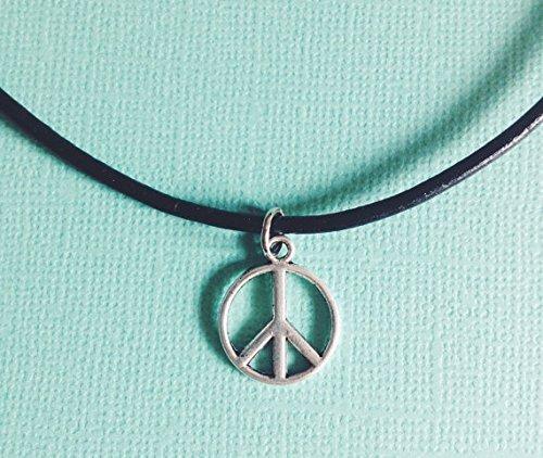 Peace Choker Necklace Pendant – Boho – Handmade Pendant – Leather Chain – Silver Pendant
