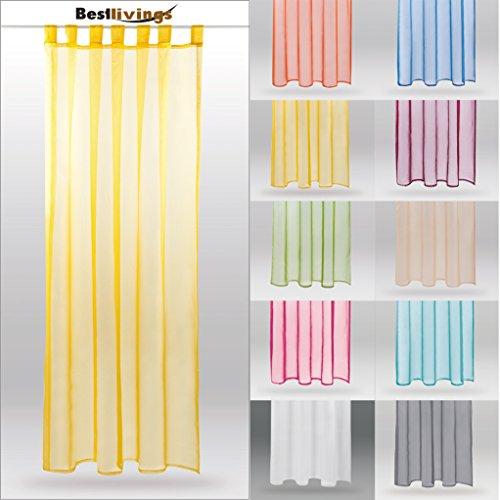 Dekoschal Schlaufenschal Transparent Gardine Voile B140cm - L245cm, Farbe: gelb - lemongelb