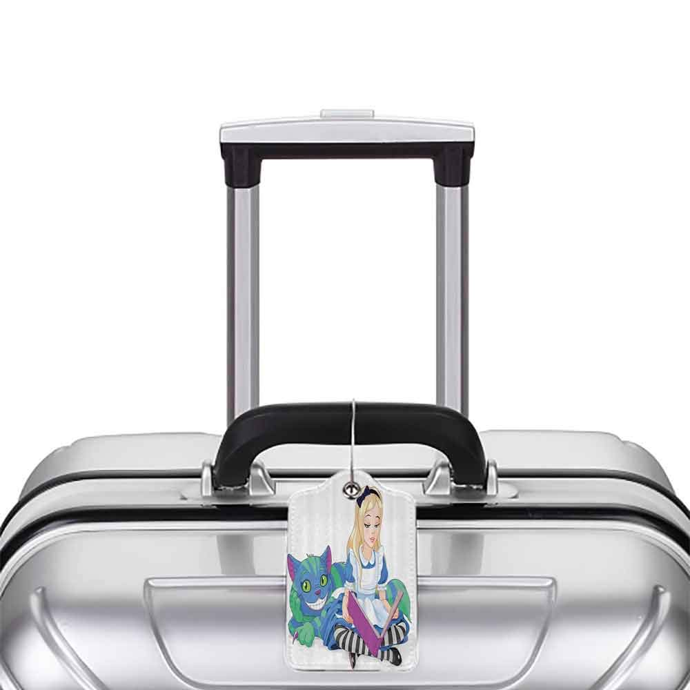 Printed luggage tag Alice in Wonderland Decorations Alice Reading Book Cat Colorful World Happiness Love Character Illustration Protect personal privacy Multi W2.7 x L4.6