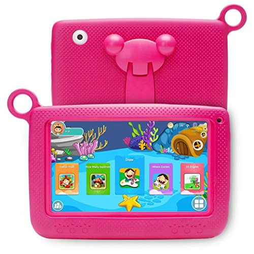 "Price comparison product image Hometom Kids Edition Tablet,  7"" HD Display,  32 GB,  Kid-Proof Case,  Android 4.4 Quad Core,  3D Game Supported (Hot Pink)"