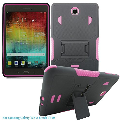 [iRhino] TM For Samsung galaxy Tab A 8 inch T350 Tablet Black-HOT PINK Heavy Duty rugged impact Hybrid Case cover with Build In Kickstand Protective Case