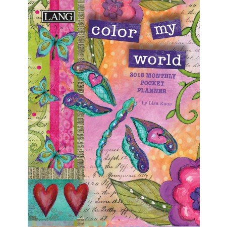 "LANG - 2018 Monthly Pocket Planner - ""Color My World"" - Artwork By Lisa Kaus - 13 Month - January to January - Portable 4.5"" x 6.5"""
