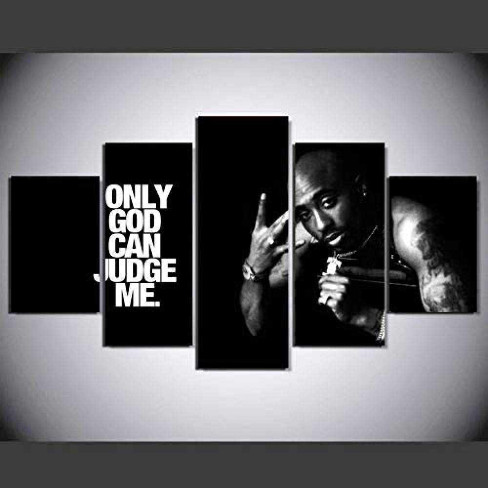 FSKJWLH 5 Pieces 2Pac Tupac Modern Home Wall Decor Canvas Picture Art Hd Print Painting On Canvas for Living Room-Frameless@30x40_30x60_30x80cm-frameless