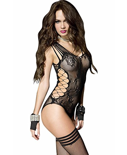 Seamless Teddy - Music Legs Women's Lace Seamless Teddy Black One Size Fits Most