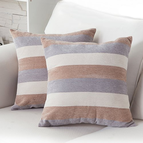 MochoHome Decorative Chenille Square Stripe Throw Pillow Cov