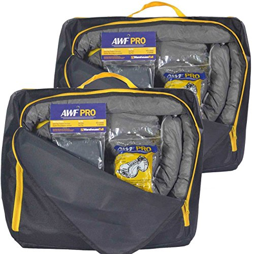 Portable Spill Kit 2 Pack Universal: Each Kit Contains 20 Sorbent Pads, 3 Sorbent Socks, Disposal Bags, Goggles and Chemical Gloves. Packed in 2 HD Nylon Bags