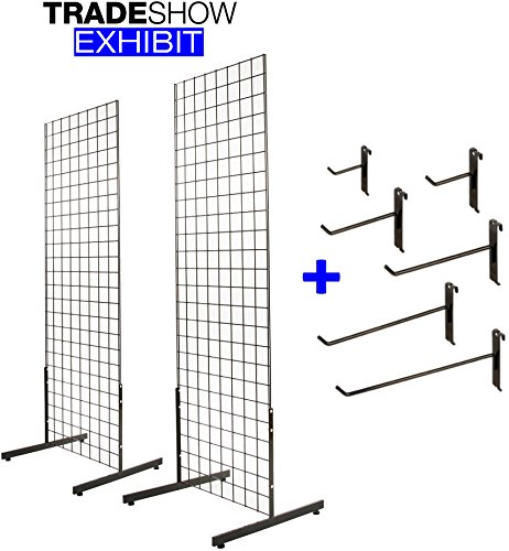 2' x 6' Gridwall Panel Tower with T-Base Floorstanding Display Kit, 2-Pack Black, with Assortment of (60) Gridwall Hooks 4'', 6'' and 8''