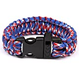 550 Parachute Cord Emergency Military Survival Bracelet Whistle Wristband(Red,Blue and White Camouflage)HW089