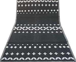 Indio alfombra hecha a mano material de polipropileno gris blanco patrón abstracto picnic estera de piso de playa alfombra grande trapo 6 x 4 pies impermeable alfombra de plástico lavable
