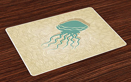 Ambesonne Jellyfish Place Mats Set of 4, Beach Summer Oceanic Life Tropicalea Animal Nautical Abstract Pattern, Washable Fabric Placemats for Dining Room Kitchen Table Decor, Sand Brown Seafoam by Ambesonne