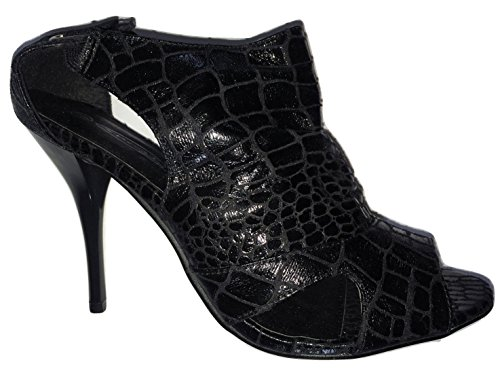 Spot On Black Snake Skin Effect Open Toe Stiletto's rfUSw