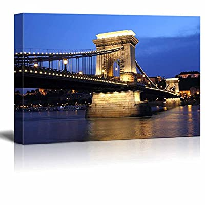 Chain Bridge and Danube River in Budapest at Night in Hungary Wall Decor, Premium Creation, Grand Technique