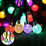 Teepao Solar String Lights, 23ft 50 LED Outdoor Crystal Ball Fairy Lights, Waterproof Nautical Globe Vine Starry String Lights, Colored Solar Powered Decoration Lights for Patio Christmas - Colorful