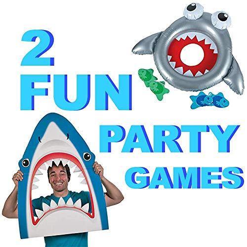 Under the Sea Party Supplies for Boys and Girls | Party Games and Large Shark Photo Prop | Shark, Mermaid, Luau, Pool Party, Ocean Theme Party Supplies for Kids