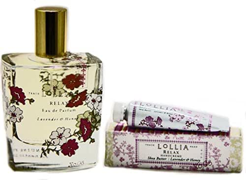 Lollia Relax Perfume with Free Petite Treat Handcreme Scent of Lavender and White Orchard Eau de Parfum 3.4 fl oz