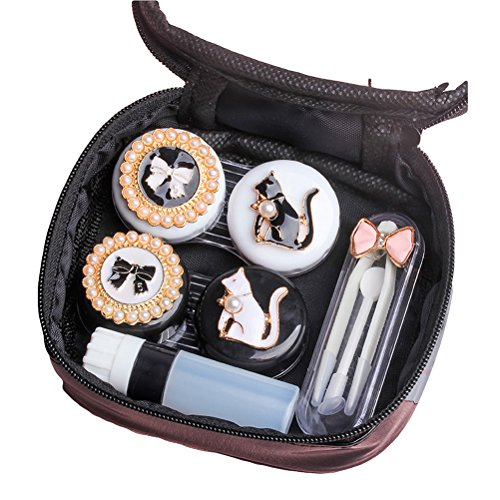 Contact Lens Case Cute Cat Portable Contacts Lenses Travel Kit with Tweezers Container Holder Mirror -Easy Carry (Cat) -