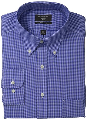 Stripe Button Front Shirt (Dockers Men's Non-Iron Classic Fit  Mini-Checkered Button-Front Shirt, Light Blue, 16x34/35)