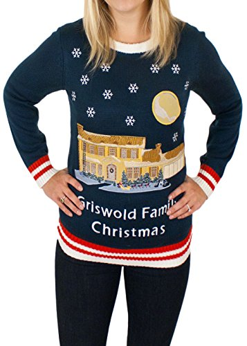 [Women's Christmas Vacation Lighted Griswold House Sweater in Blue By Festified (Large)] (Snuggles Dog Costume)