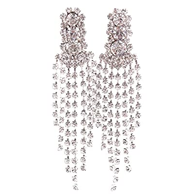 New Grace Jun New Style Large Tassel Clip on Earrings Without Piercing Rhinestone Statement Earrings for sale
