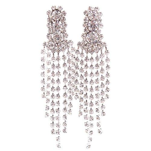 Grace Jun New Style Large Tassel Clip on Earrings Without Piercing Rhinestone Statement Earrings (199)