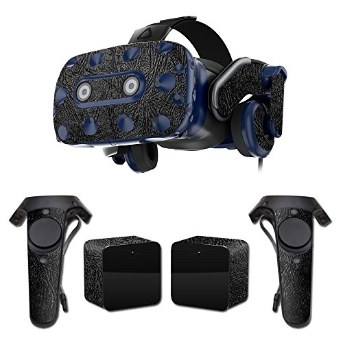 MightySkins Skin For HTC VIVE Pro VR Headset - Black Leather | Protective, Durable, and Unique Vinyl Decal wrap cover | Easy To Apply, Remove, and Change Styles | Made in the USA by MightySkins