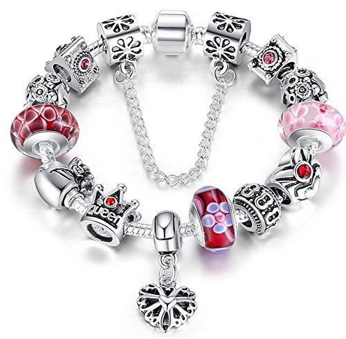 migliore buona consistenza nuovo design Braccialetto Pandora Stile con Perle in Vetro di Murano, Cuore ...